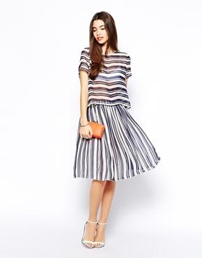 Купить юбку синюю в полоску