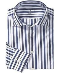 Бело-темно-синяя рубашка с длинным рукавом в вертикальную полоску