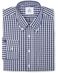 Бело-темно-синяя рубашка с длинным рукавом в клетку