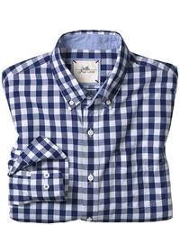Бело-темно-синяя рубашка с длинным рукавом в мелкую клетку