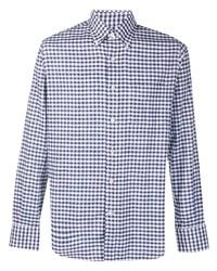Мужская бело-темно-синяя рубашка с длинным рукавом в мелкую клетку от Canali