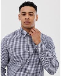 Мужская бело-темно-синяя рубашка с длинным рукавом в мелкую клетку от J.Crew Mercantile