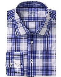 Бело-темно-синяя рубашка с длинным рукавом в шотландскую клетку