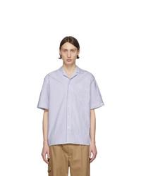 Бело-темно-синяя рубашка с коротким рукавом в вертикальную полоску