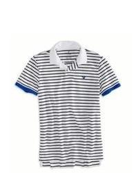 Бело-темно-синяя футболка-поло