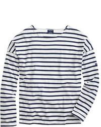 Бело-темно-синяя футболка с длинным рукавом в горизонтальную полоску