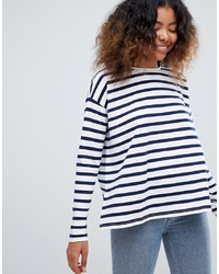 Женская бело-темно-синяя футболка с длинным рукавом в горизонтальную полоску от ASOS DESIGN