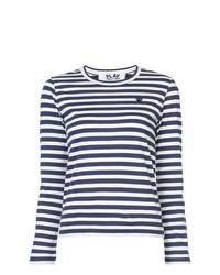 Женская бело-темно-синяя футболка с длинным рукавом в горизонтальную полоску от Comme Des Garcons Play