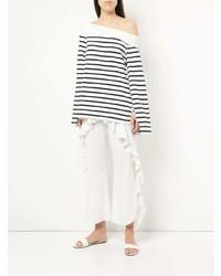 Женская бело-темно-синяя футболка с длинным рукавом в горизонтальную полоску от Goen.J