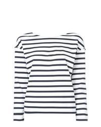 Женская бело-темно-синяя футболка с длинным рукавом в горизонтальную полоску от Loveless