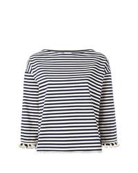 Женская бело-темно-синяя футболка с длинным рукавом в горизонтальную полоску от Moncler