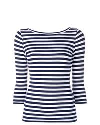 Женская бело-темно-синяя футболка с длинным рукавом в горизонтальную полоску от Natasha Zinko