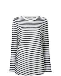 Женская бело-темно-синяя футболка с длинным рукавом в горизонтальную полоску от T by Alexander Wang