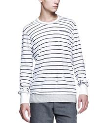 бело темно синяя футболка с длинным рукавом original 9727653