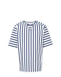 Бело-темно-синяя футболка с круглым вырезом в вертикальную полоску