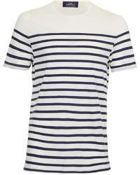Бело-темно-синяя футболка с круглым вырезом в горизонтальную полоску