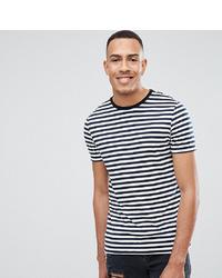 Мужская бело-темно-синяя футболка с круглым вырезом в горизонтальную полоску от ASOS DESIGN