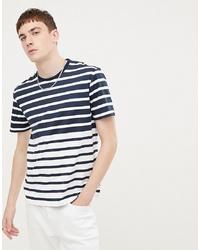 Мужская бело-темно-синяя футболка с круглым вырезом в горизонтальную полоску от Ben Sherman