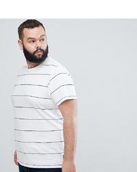 Мужская бело-темно-синяя футболка с круглым вырезом в горизонтальную полоску от French Connection