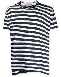 Мужская бело-темно-синяя футболка с круглым вырезом в горизонтальную полоску от Maison Flaneur