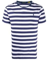 Мужская бело-темно-синяя футболка с круглым вырезом в горизонтальную полоску от Polo Ralph Lauren
