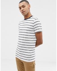 Мужская бело-темно-синяя футболка с круглым вырезом в горизонтальную полоску от Selected Homme