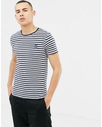 Мужская бело-темно-синяя футболка с круглым вырезом в горизонтальную полоску от Solid