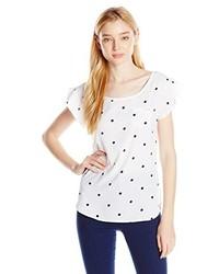 Бело-темно-синяя футболка с круглым вырезом в горошек