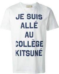 Бело-темно-синяя футболка с круглым вырезом с принтом