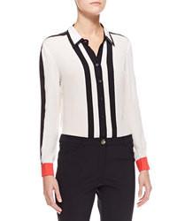 Бело-черная блуза на пуговицах в вертикальную полоску