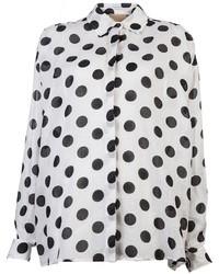 Бело-черная блуза на пуговицах в горошек