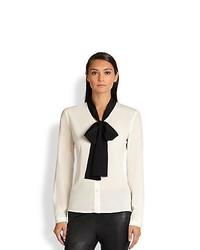 Бело-черная блуза на пуговицах