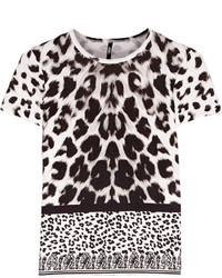 Бело-черная блуза с коротким рукавом с леопардовым принтом