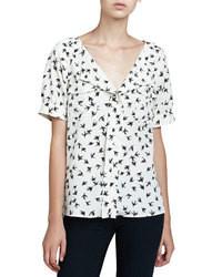 Бело-черная блуза с коротким рукавом с принтом