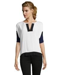 Бело-черная блуза с коротким рукавом
