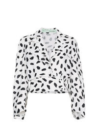 Бело-черная блузка с длинным рукавом с принтом