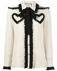 Бело-черная блузка с длинным рукавом