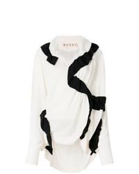 Бело-черная блузка с длинным рукавом от Marni