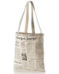 Бело-черная большая сумка из плотной ткани с принтом