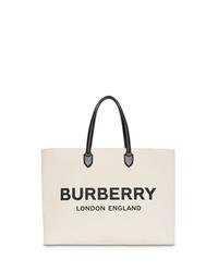 Мужская бело-черная большая сумка из плотной ткани с принтом от Burberry