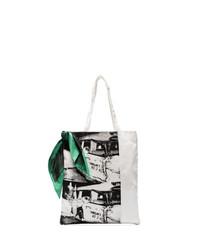 Мужская бело-черная большая сумка из плотной ткани с принтом от Calvin Klein 205W39nyc