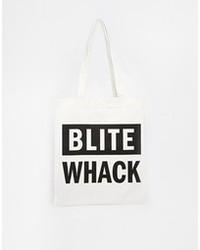 Мужская бело-черная большая сумка из плотной ткани с принтом от Cheap Monday