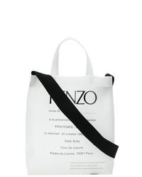 Мужская бело-черная большая сумка из плотной ткани с принтом от Kenzo