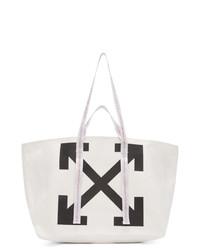 Мужская бело-черная большая сумка из плотной ткани с принтом от Off-White
