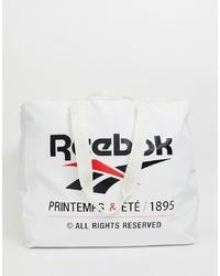 Мужская бело-черная большая сумка из плотной ткани с принтом от Reebok