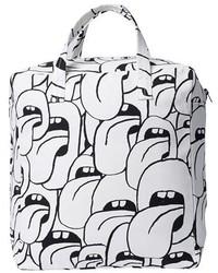 Бело-черная большая сумка из плотной ткани