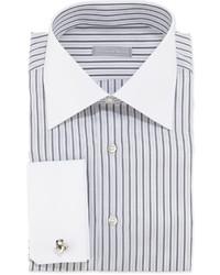 Бело-черная классическая рубашка в вертикальную полоску