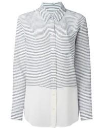 Женская бело-черная классическая рубашка в горизонтальную полоску от Equipment