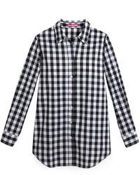 Бело-черная классическая рубашка в мелкую клетку