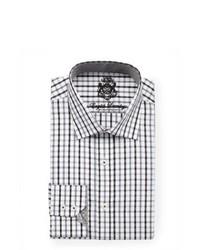 Бело-черная классическая рубашка в шотландскую клетку